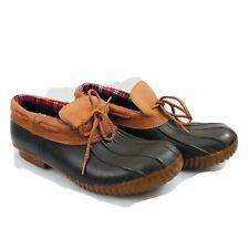 "Bass Duck Rain Boots Shoes Black Rubber Tan Leather ""Habby Tan"" - Women's Sz 6.5"