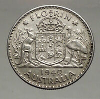 1942 AUSTRALIA - FLORIN Large SILVER Coin King George VI Coat-of-Arms i56687