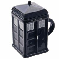 Novelty square Police Box Tea Coffe Mug Cup with Lid New Boxed Present Gift