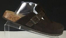 American Eagle Outfitters Womens Clogs Mules Suede Brown Buckle US 11 Italy