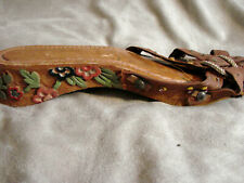 Vintage 40s Wwii Carved Wood Shoes Sandals Floral 5.5 Beads Phillippines