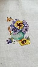 Completed Finished Cross Stitch Pansies - Marjolein Bastin Design
