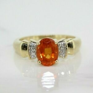 9ct Yellow Gold Fire Opal and Diamond Solitaire Ring Size N, US 6 3/4