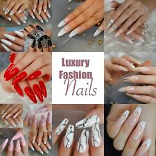 Luxury Design Extra Long Fake Nails Ombre French Tips Natural / Stiletto Shape