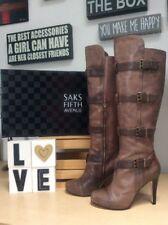 SAKS FIFTH AVE Tamra Curio Vintage Vitello Leather Buckled KneeHigh Boots 9M EUC