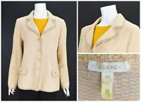 Womens Escada Tweed Blazer Jacket Knit Multicolor Wool Blend Size 40 / UK14