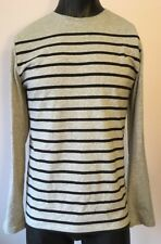 Structure Mens Slim Fit, Crew Neck Tee, Long Sleeves Size M Grey Striped