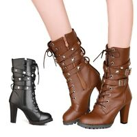 Womens Boots Block heel Military Studded buckle Faux leather Oxford shoes tata