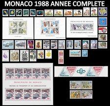 MONACO 1988 ANNEE COMPLETE Neuve** PREO Bande, paire inclus & 4 Blocs Cote:202€
