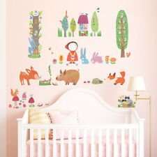 Decowall DW-1601 Red Riding Hood in Woodland Wall Stickers kids Decal Children