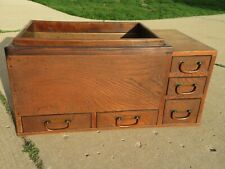 Antique 1920 Japanese Meiji Brazier Wooden Naga HIBACHI Copper Lined w/5 Drawers
