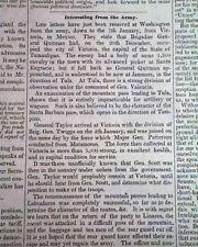 CIUDAD VICTORIA Tamaulipas Occupation Mexican-American War 1847 Old Newspaper