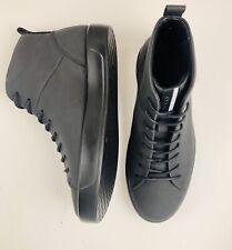 Ecco Soft 8 All Black Leather High Top Fashion Sneaker Men's Sz 40 M