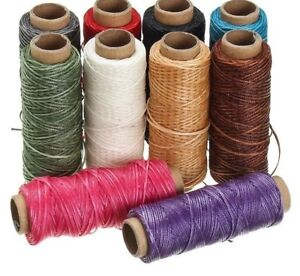 Leather Waxed Thread Cotton Cord String Strap Hand Stitching Handicraft Tool 50m