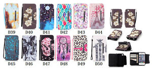 10pcs/lot Magnetic Wallet Printed Book Leather Case Card Flip Stand with Strap