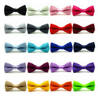 Kid Boy Children Solid Satin Adjustable Bowtie Wedding Party Pre-tied Bow Tie