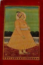 Vintage Oriental indian mughal emperor maharaja rajasthan miniature painting 19c