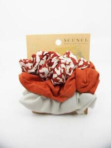 Scunci Scrunchie Neutral - Red Dot Print / Solid Gray / Solid Red - 3pk