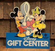 Vintage 1981 Disney Gift Center Music Mickey Minnie 2 Sided Die Cut Sign 14x13