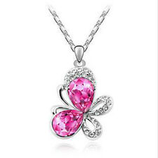 Crystal Butterfly Pink Purp Silver Plate Fashion Pendant Necklace, Gifts for Her