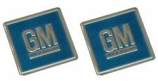 69-72 GM Embossed Metal Door Jamb Adhesive Decal Badge Foil Sticker Blue 3M 2pc