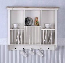 Wall Cabinet Country Style Plates Board Shelf Old White Metal Hook