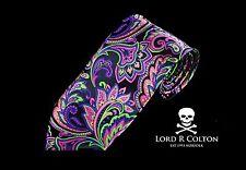 Lord R Colton Masterworks Tie - Vesuvio Eggplant Volt Paisley Necktie - New