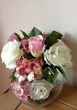 Artificial Silk Flower Arrangement Pink And Cream Roses And Hydrangea In A Vase
