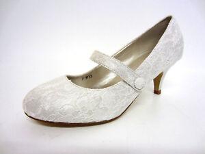 Anne Michelle F9R753 Ladies Bride/ Bridesmaid Shoes Ivory Lace (R12A)