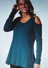 Isaac Mizrahi Live Long Sleeve Cold Shoulder Peplum Tunic, in Fir Green, Size L
