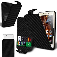 For alcatel One Touch S'Pop - Carbon Fibre Flip Case Cover With Clip Function