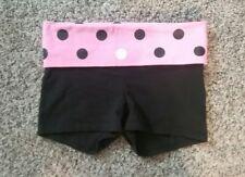 Victorias Secret LOVE PINK XS Black Pink Yoga Shorts Fold Over Polka Dot Sequins