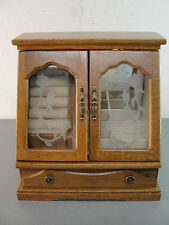 """10"""" TALL WOOD WOODEN JEWELRY STORAGE DISPLAY BOX CABINET ETCHED GLASS FLOWERS"""