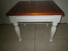 Cottage Style End Table White Square Shape Solid Wood White And Natural