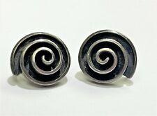 Taxco Mexico Vintage Sterling Silver Swirl Screw Back Earrings