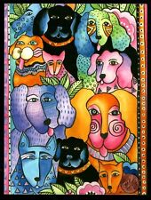 LAUREL BURCH Puppy Dogs of All Breeds Collars ORNATE  -  Greeting Card - NEW