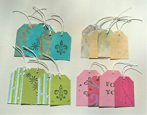 Pack of 16 GIFT TAGS Labels HANDMADE Paper Card With String Assorted Colours