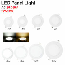 Cool/Warm White LED Recessed Panel Light Round Ceiling Lamp 3/6/9/15/18/24W 2835