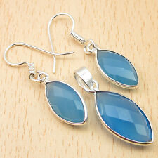 Earrings, Pendant Matching Jewelry SET, 925 Silver Plated BLUE CHALCEDONY Gemset