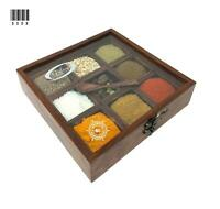 Wooden Spice Box Multipurpose Utility Table Top Spice jar Box Glass Top w Spoon