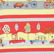 1YD FOX PLAYGROUND Animal Transport Red Baby Dena Designs Free Spirit Fabrics