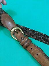 Coach Men's British Tan Brown Leather Belt Sz 36 90cm Braided Woven Style #3850