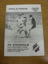 23/10/1985 Dukla Prague v AIK Stockholm [European Cup Winners Cup] . Thanks for
