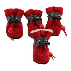 4 PCS/Set Antiskid Puppy Winte Padded Shoes Protection Soft-soled Pets Dog Shoes