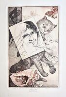Karel Zeman (geb. 1949) signierte Farbradierung, Künstlerselbstbildnis mit Katze