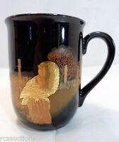 Owl Coffee Mug Otagiri Glossy Black and Shiny Gold Bird
