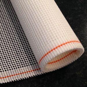 Interlock Needlepoint Canvas WHITE Orange line Zweigart 1 yd CHOOSE MESH SIZE