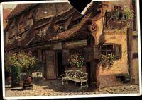 Nürnberg Bratwurstglöckle - Ludwig Mößler farbig  Postkarte Riss AK PK ungelaufe