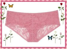 L Large ROSE Pink Victorias Secret Ruched FULL Back Lace Stretch Hiphugger Panty