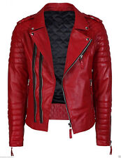Men's Diamond Quilted Kay Michael Soft Leather Slim Fit Red Biker Jacket - BNWT